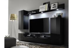 LIONE 1 moderná obývacia zostava, čierna/čierny lesk
