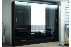 MARSEILLE 250 šatníková skriňa čierny lesk 255cm