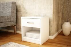 MAREK 026 nočný stolík so zásuvkou, biela