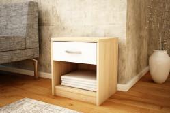 MAREK 026 nočný stolík so zásuvkou, dub sonoma/biela