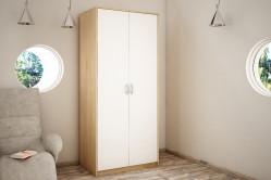 VILMA 2D 2-dverová skriňa s vešiakovou tyčou, dub sonoma/biela
