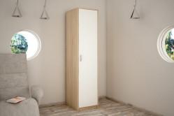 VILMA 1D 1-dverová skriňa s vešiakovou tyčou, dub sonoma/biela