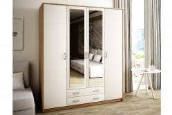 VILMA 4D2S 4-dverová skriňa so zrkadlom, dub sonoma/biela