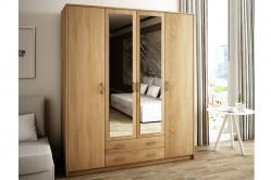 VILMA 4D2S 4-dverová skriňa so zrkadlom, dub sonoma