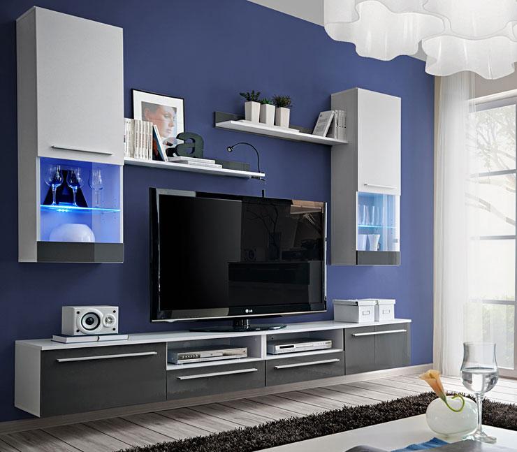 >> Obývacia stena EVITA s LED, alpský lesk