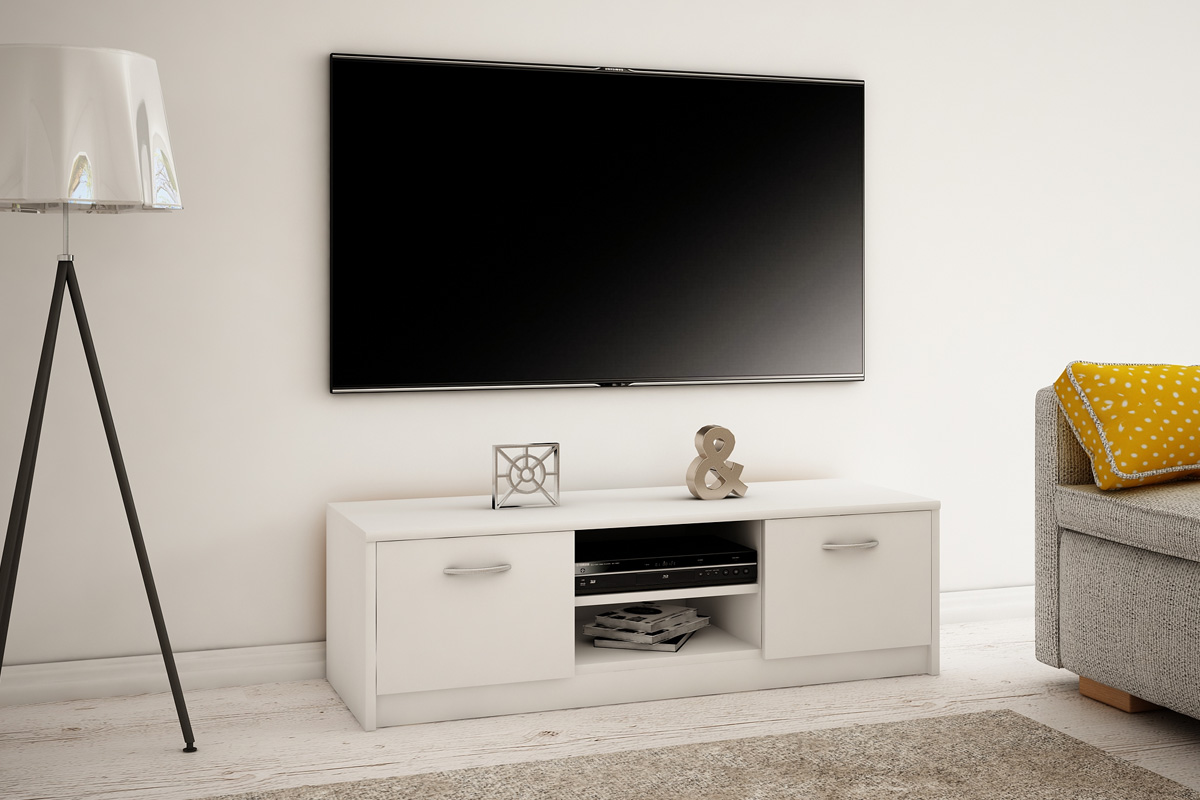 MAREK 027 TV stolík s dvierkami a policami, biela