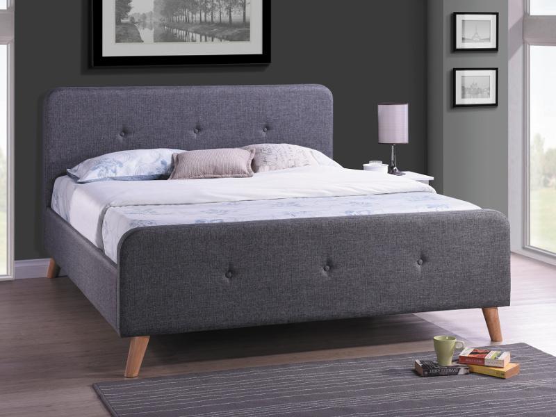 BALBOA čalúnená posteľ 140x200 cm, šedá látka