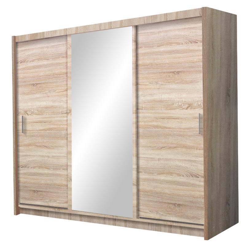 MONACO šatníková skriňa so zrkadlom, dub sonoma