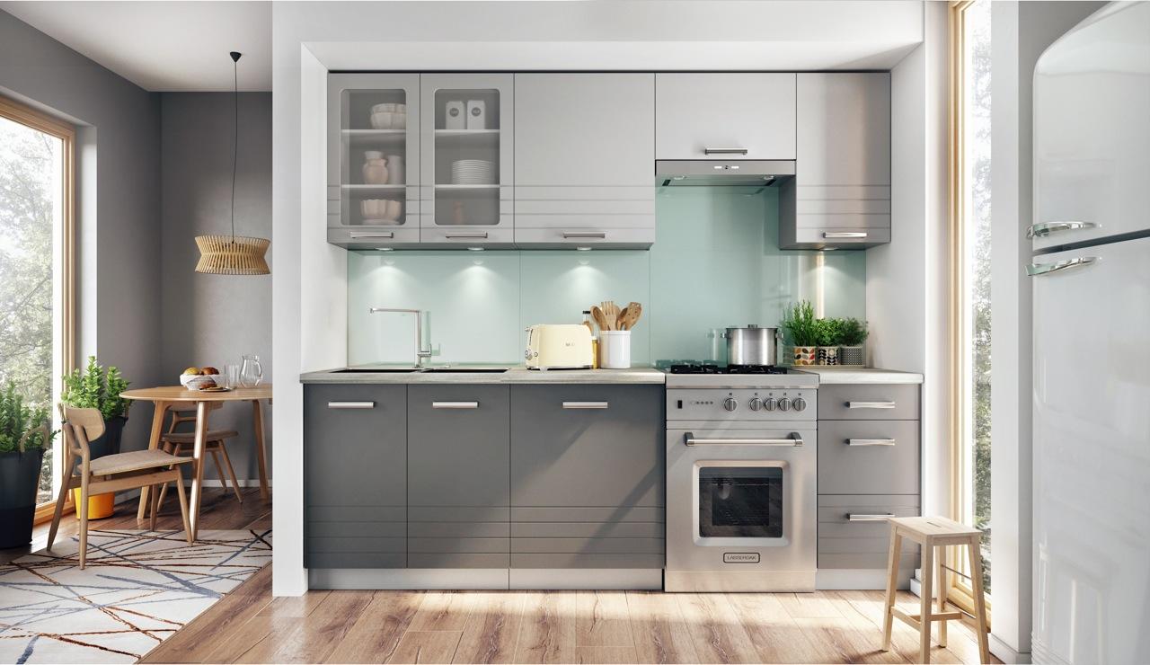 AURA kuchyňa 240 cm, šedá/mocca