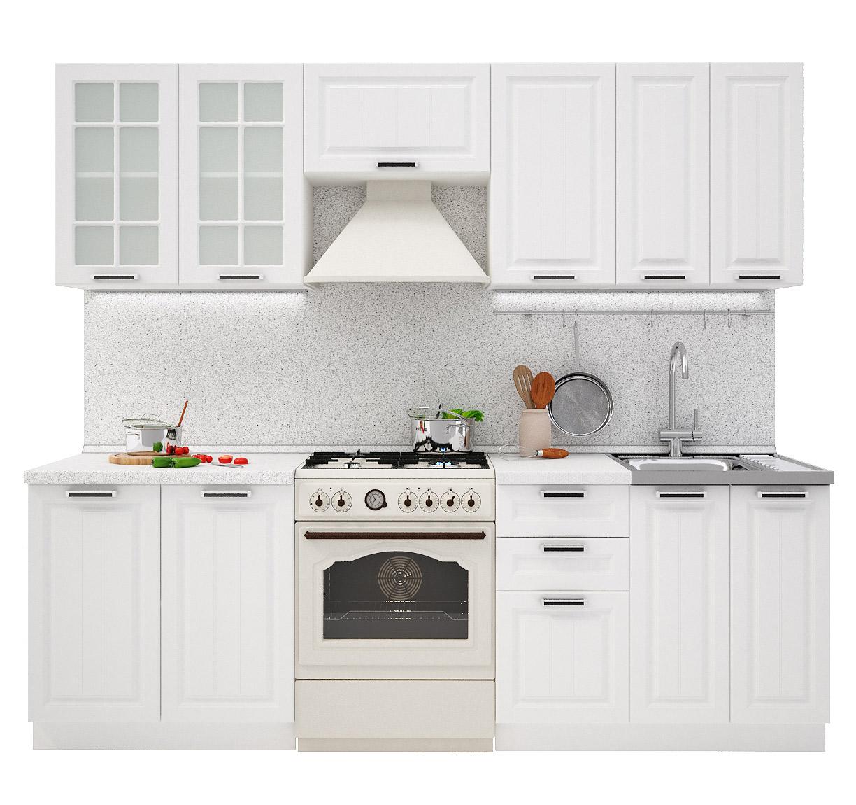 PRAHA 240 kuchynská zostava, biela/biele drevo