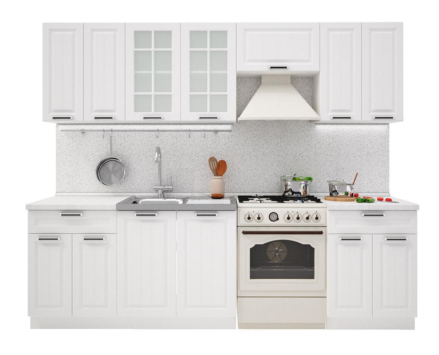 PRAHA 260 kuchynská zostava, biela/biele drevo