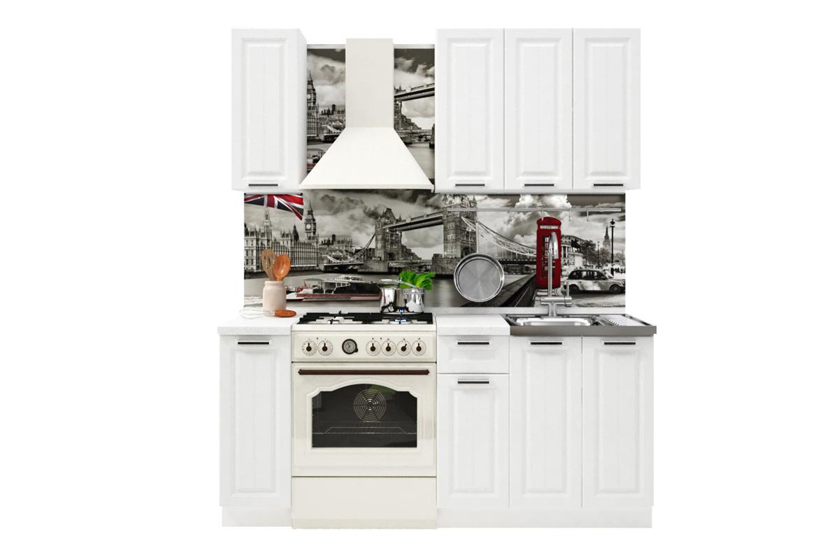 PRAHA 120 malá kuchynská zostava, biela/biele drevo