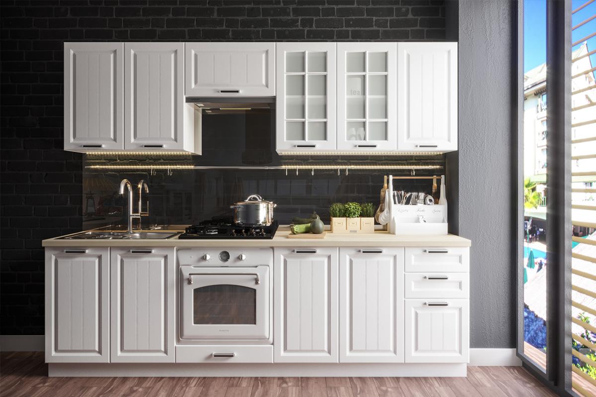 PRAHA II 260 kuchynská zostava, biela/biele drevo