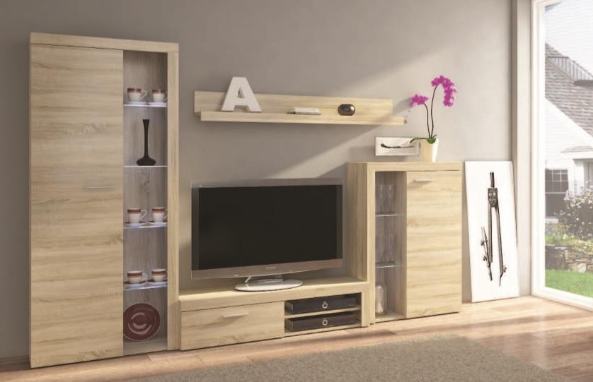 Moderná obývacia stena BRUMA, dub sonoma