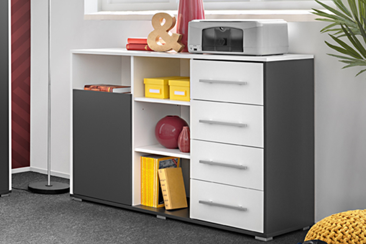VerDesign, WALLE detská kombinovaná komoda, biela/šedá