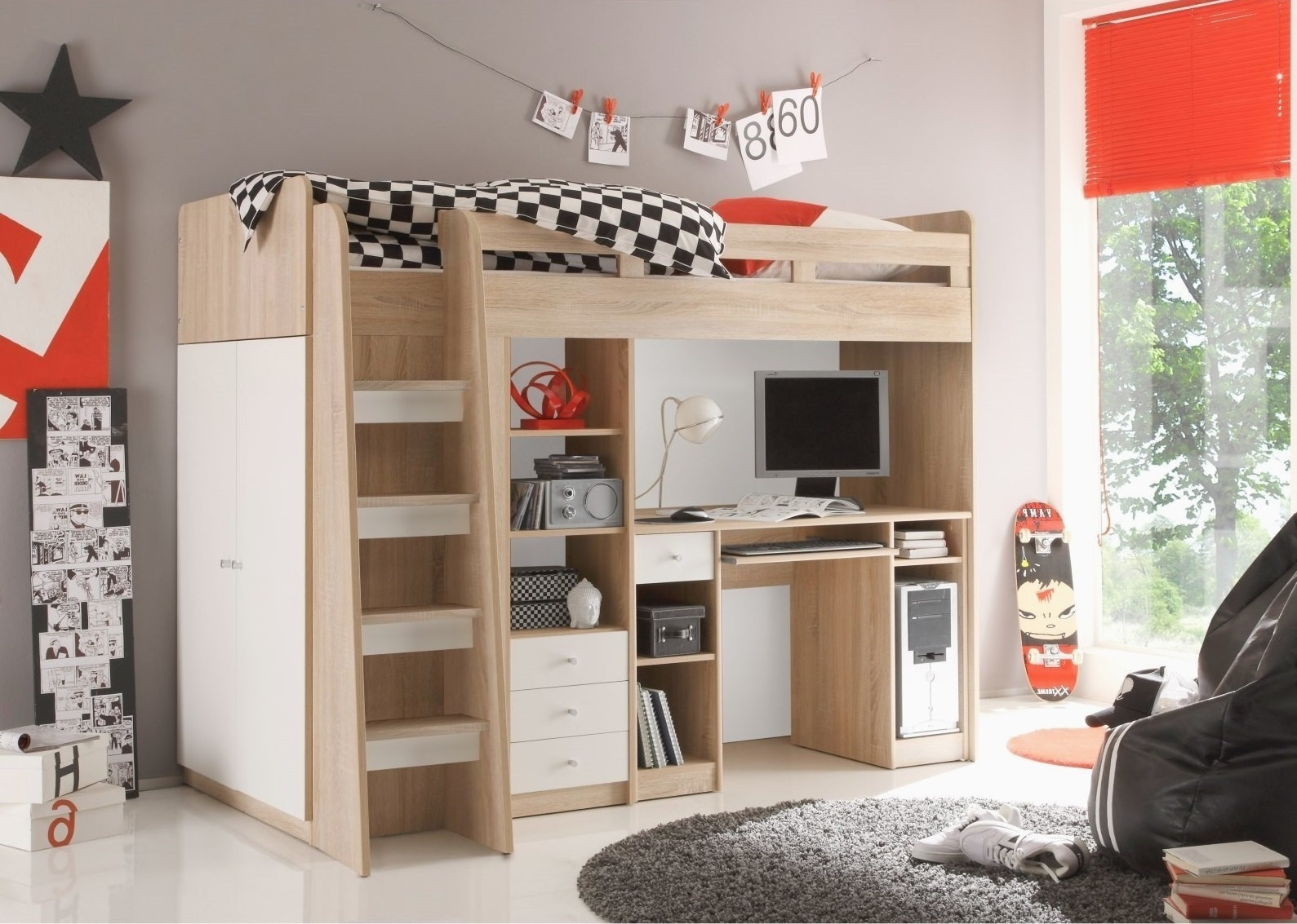 JUNIT detská posteľ so stolíkom, dub sonoma/biela