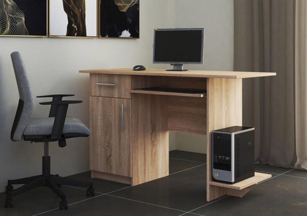 VerDesign, VEBER pracovný stôl ľavý, dub sonoma